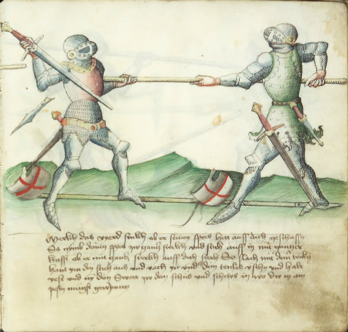 Drawing of an armored duel. The left duelist has a hold of his opponents spear and