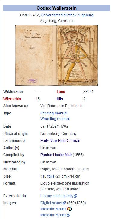 Wiktenauer Screenshot von der Informationstafel zum Codex Wallerstein / Von Baumanns Fechtbuch