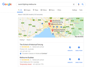 Google search results for sword fighting melbourne both with a HEMA group and a Budokai non-hema group