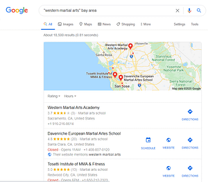 "Google search results for ""western martial arts"" bay area with two HEMA clubs and an MMA club"