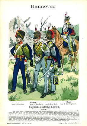 Print of Hussar light cavalry on foot and horse with sabres.