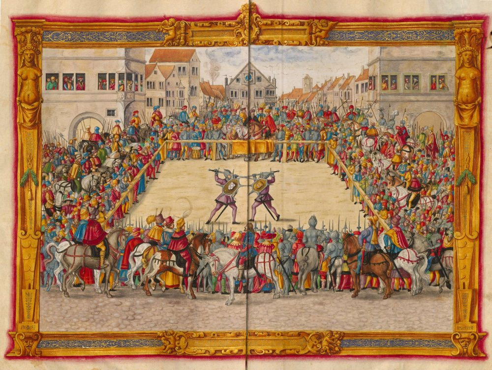 Drawing from 1540 of a Judicial Duel that happened in Augsburg in 1409. The duelists face each other with sword and shield, armored with steel helmets and gloves.There is a big area separated for the duelists called the barriers.Outside of the barriers is a huge crowd of people on foot and horse watching the spectacle.