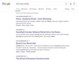 Google search results for learn rapier canada with the first three results being canadian clubs