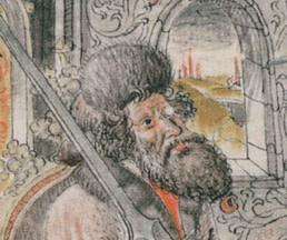 Drawing of Johannes Liechtenauer as seen in the Coded Peter von Danzig. Liechtenauer is credited as the originator of German Longsword.