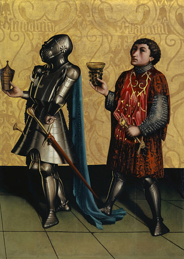 Painting of two men holding something while wearing swords and daggers on their waists. One is painted in full armor including helmet and the other without a helmet.