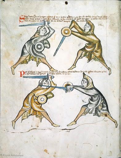 Ein Ausschnitt des Schwert und Buckler Manuskriptes I.33 aus der Royal Armoury in Leeds