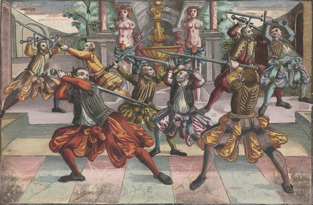Kollorierter Kupferstich aus Joachim Meyers Fechtbuch mit Langschwert Fechtern. Darauf zu sehen sind zudem Fechtfedern und ein Outdoor Fechtsaal mit Marmor.