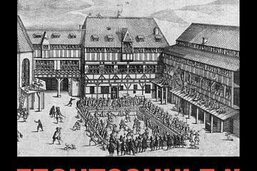 Das Bild zeigt eine Fechtschule in Nürnberg im Hof